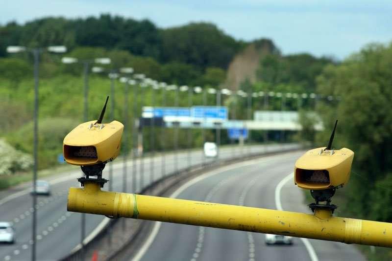 Speed cameras above motorway